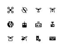 Quadcopter en vliegende hommelpictogrammen op wit stock illustratie