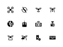 Quadcopter and flying drone icons on white Stock Photography