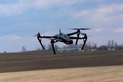 Quadcopter. Flying over a field stock image