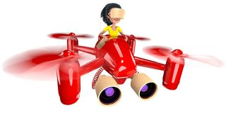 Quadcopter. A girl with long hair controls a red quadroopter. On her head she wears a helmet of virtual reality. 3D illustration Royalty Free Stock Photo