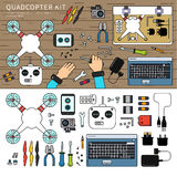 Quadcopter kit on the table Stock Image