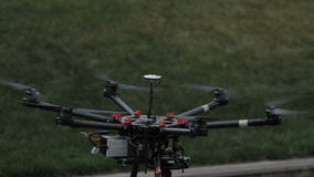 Quadcopter. Radio controlled hexacopter flying stock footage
