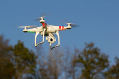 Quadcopter. Radio controlled quadcopter used for aerial photography stock photo