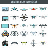 Quadcopters and drones surveillance and delivery devices 25 flat Stock Images