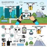 Quadcopters on the street Stock Images