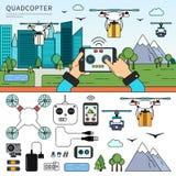 Quadcopters sulla via Immagini Stock