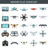 Quadcopters und Brummenüberwachungs- und -lieferungsgeräte 25 flach Stockbilder