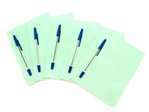 Quaderni con i ballpoints Fotografia Stock