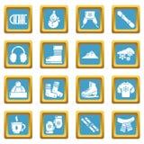 Quadrado ajustado ícones do sapphirine da roupa do inverno ilustração royalty free