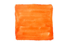 Quadrado alaranjado aquarela pintada no fundo branco imagens de stock