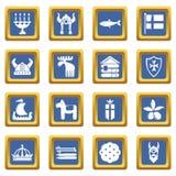 Quadrado azul ajustado ícones do curso da Suécia ilustração stock