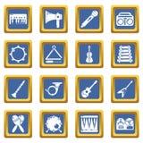 Quadrado azul ajustado ícones dos instrumentos musicais ilustração do vetor