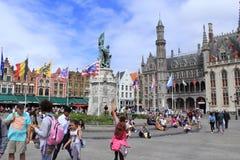 Quadrado bonito Bélgica de Bruges Fotos de Stock