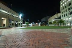 Quadrado cívico em Wellington central, Nova Zelândia da cena da noite Imagem de Stock Royalty Free