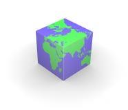 Quadrado cúbico do cubo da terra do globo ilustração do vetor