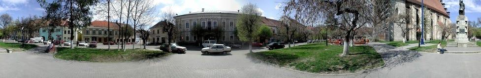 Quadrado central de Bistrita 360 graus de panorama Fotos de Stock