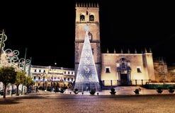 Quadrado da catedral com árvore de Natal Imagem de Stock Royalty Free