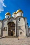 Quadrado da catedral do Kremlin de Moscou em Rússia Fotografia de Stock Royalty Free