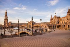 Quadrado da Espanha de Sevilha, a Andaluzia, Espanha imagem de stock royalty free