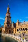 Quadrado da Espanha em Sevilha, Espanha 22 de dezembro Imagem de Stock