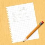 Quadrado da folha e um lápis Imagem de Stock