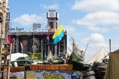 Quadrado da independência em Kiev durante uma demonstração contra a ditadura em Ucrânia Fotografia de Stock Royalty Free