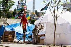 Quadrado da independência em Kiev durante uma demonstração contra a ditadura em Ucrânia Imagens de Stock Royalty Free