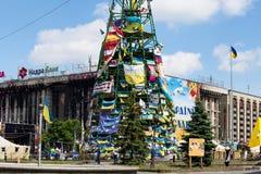 Quadrado da independência em Kiev durante uma demonstração contra a ditadura em Ucrânia Foto de Stock Royalty Free
