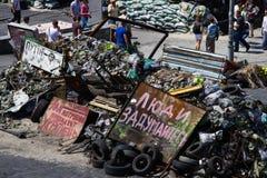 Quadrado da independência em Kiev durante uma demonstração contra a ditadura em Ucrânia Fotografia de Stock