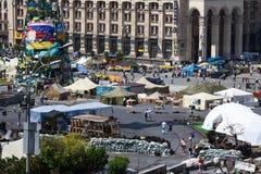 Quadrado da independência em Kiev durante uma demonstração contra a ditadura em Ucrânia Imagem de Stock Royalty Free