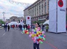 Quadrado da independência em Victory Day em Kiev, Ucrânia Fotos de Stock Royalty Free