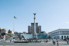 Quadrado da independência, o quadrado principal de Kiev, Ucrânia (Maidan) Imagens de Stock Royalty Free