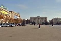 Quadrado da liberdade em Kharkov, Ucrânia Imagem de Stock Royalty Free