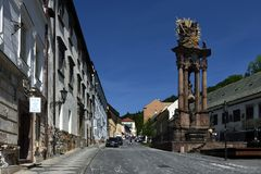 Quadrado da trindade santamente, Banska Stiavnica, Eslováquia, UNESCO Fotos de Stock Royalty Free