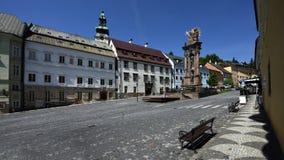 Quadrado da trindade santamente, Banska Stiavnica, Eslováquia, UNESCO Fotografia de Stock