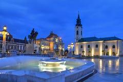 Quadrado da união em Oradea, Romênia fotos de stock royalty free