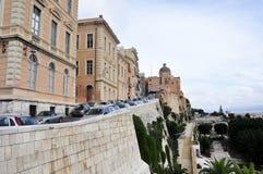 Quadrado de Bastione San Remy no distrito Cagliari do centro do castello, Sardinia, Itália Imagem de Stock