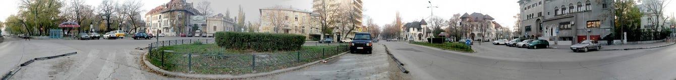 Quadrado de Bucareste 360 graus de panorama Fotografia de Stock