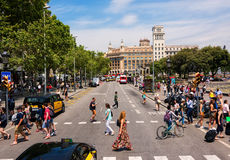 Quadrado de Catalonia em Barcelona Imagem de Stock Royalty Free