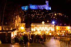 Quadrado de cidade festivo Imagens de Stock Royalty Free
