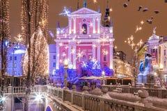 Quadrado de cidade festivo Imagem de Stock