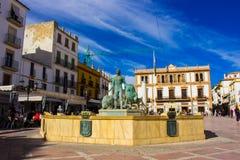 Quadrado de cidade na cidade de Ronda Fotos de Stock Royalty Free
