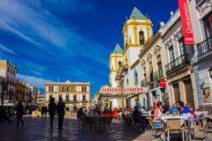 Quadrado de cidade na cidade de Ronda Foto de Stock Royalty Free