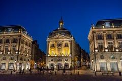 Quadrado de Lugar de la a Bolsa no Bordéus, França Imagem de Stock