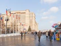 Quadrado de Manege no Natal de Moscou Imagem de Stock