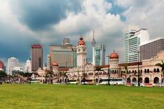 Quadrado de Merdeka e skyline de Kuala Lumpur Foto de Stock