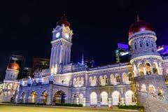 Quadrado de Merdeka em Kuala Lumpur do centro na noite Fotos de Stock