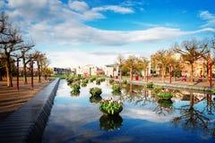 Quadrado de Museumplein em Amsterdão foto de stock royalty free