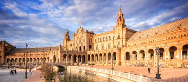 Quadrado de Plaza de Espana Espanha em Sevilha a Andaluzia fotografia de stock royalty free
