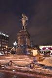 Quadrado de Pushkin em Moscou na noite Imagem de Stock Royalty Free